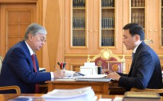 The Head of State Kassym-Jomart Tokayev receives Altai Kulginov, Akim of Nur-Sultan