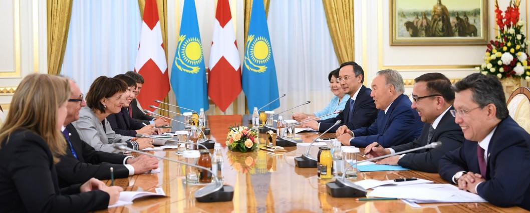 Нұрсұлтан Назарбаев Гельвеция Конфедерациясының Президенті Дорис Лойтхардпен кездесті