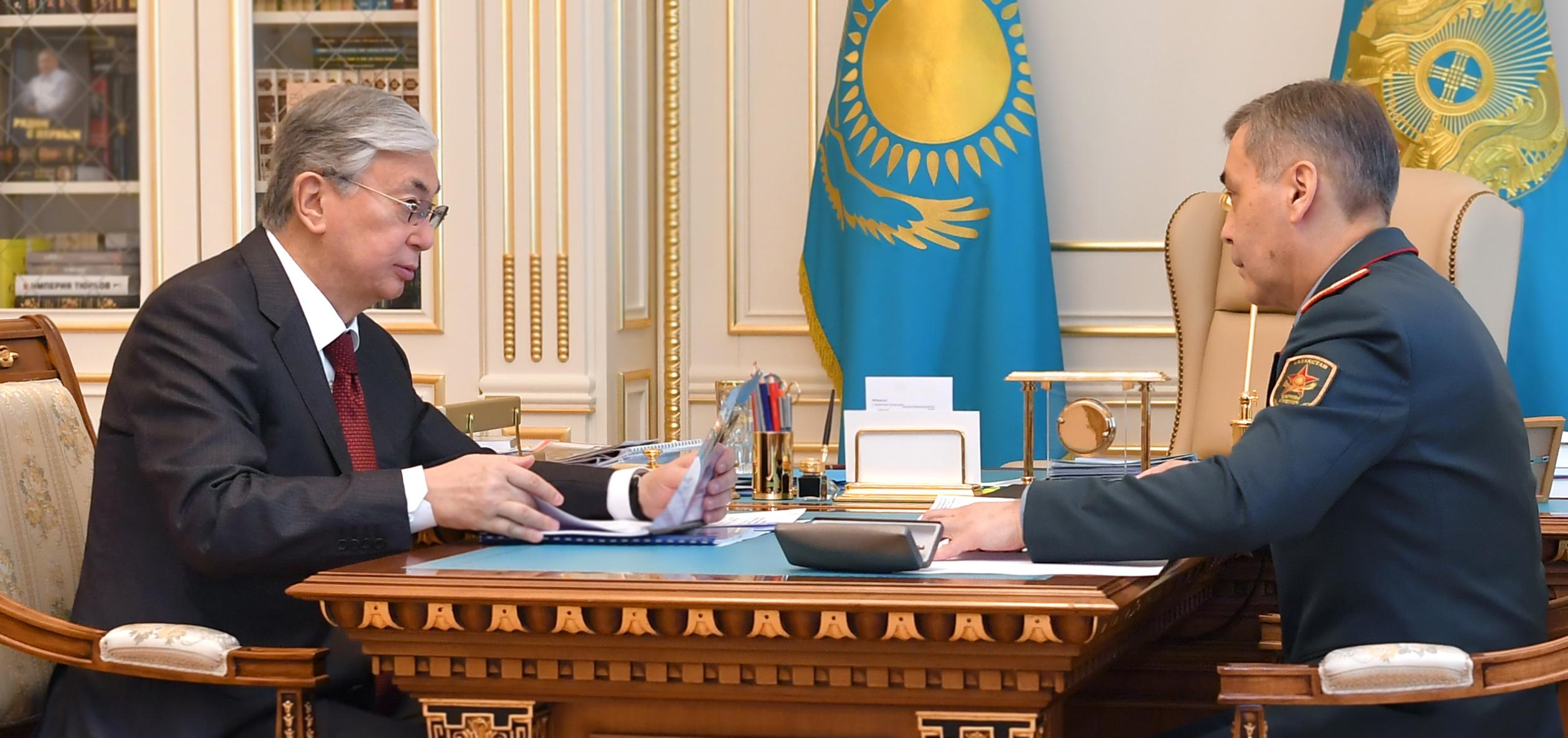 Глава государства принял министра обороны Нурлана Ермекбаева