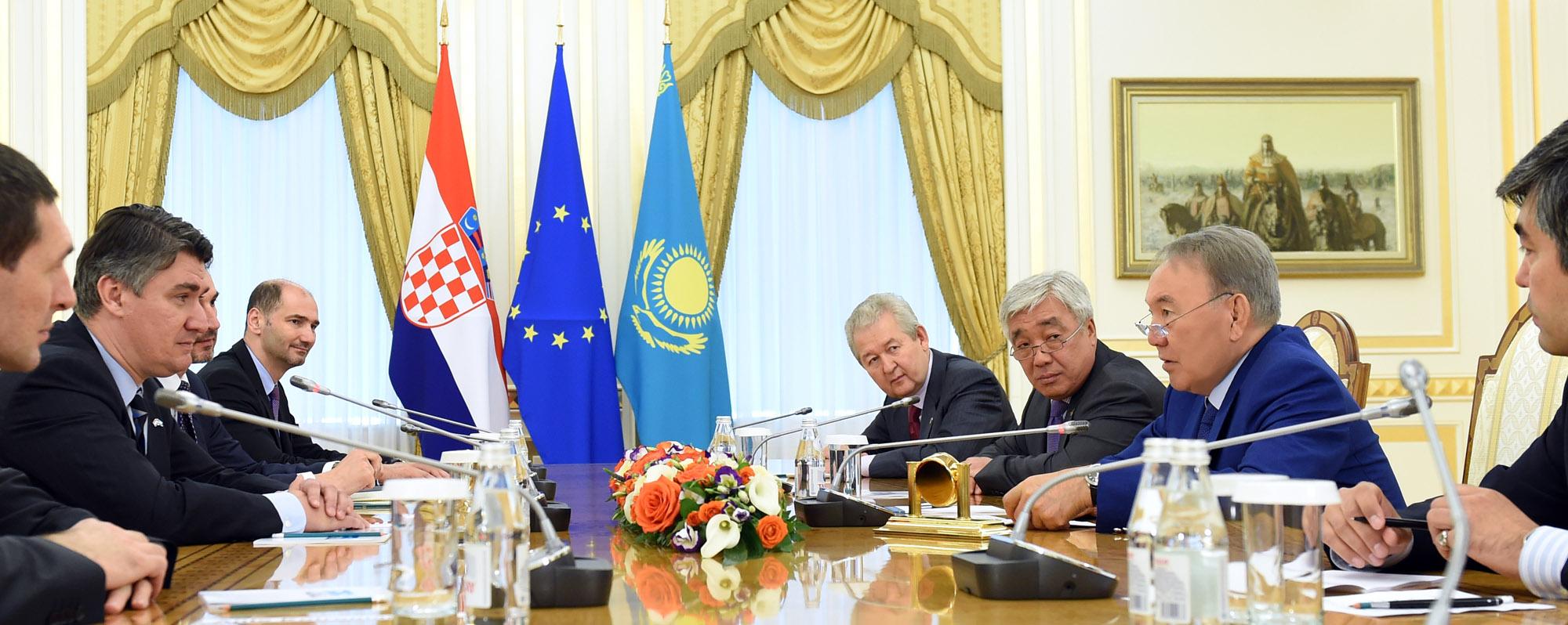 Нурсултан Назарбаев и Премьер - Министр Хорватии обсудили вопросы активизации торгово - экономических отношений